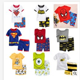 Wholesale Pyjamas boy girl kids short pajama set baby superman pajamas batman sleepwear kids short clothes set kids short kids pajamas R0523