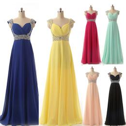 Wholesale Cheap Chiffon Formal ocasião Prom vestidos de noite Beads Amarelo Vermelho Prata Royal Blue Menta Blush Vestidos de Dama de honra Long Real Image