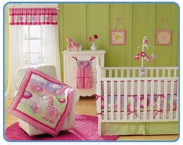 Wholesale 7 piece Lovely Pink Girl cotton Embroidered Butterfly Giraffe Baby Cot Crib Bedding Set include Quilt Bumper Skirt Mattress Cover
