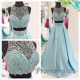 Wholesale 2016 Cute Sequins Blue Chiffon Two Pieces Prom Dress For Teens Homecoming Dress Prom Dresses Long