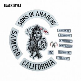 Wholesale Sons Of Anarchy Patch New BLACK STYLE Biker MC Patches For Clothes Back Full Size Custom Handmade Embroidered Iron On Patches