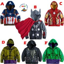 Wholesale Free DHL Children Hoodies New Baby Boys Captain America Hoodies Jacket Avengers Hulk thor iron man Superhero cosplay Kids hoodie jacket C001
