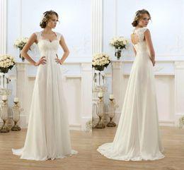 Wholesale 2016 Summer Beach Chiffon A Line Backless Wedding Dresses Empire Waist Rustic Boho Wedding Lace Straps Plus Size Maternity Bride Dress