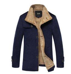 Wholesale 2014 winter jacket men latest man thick velvet long section cotton padded casual woolen coat cashmere coat manteau homme S771