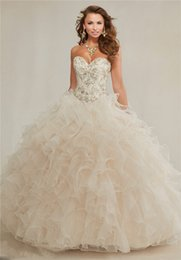 Wholesale 2015 Champagne Ball Gowns Quinceanera Dresses Sweetheart Embroidery Crystal Rhinestones Beaded Colla Ruffles Prom Debutante dresses sweet