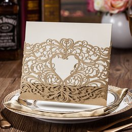 Wholesale Laser Cut Wedding Invitations Gold Heart Hollow Invitations Card For Party Supply Free Printing CW5018