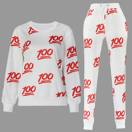 Wholesale New emoji joggers pants sweatshirt pieces sets white black for women girl sweatpant trousers cartoon outfit clothes