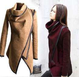 Wholesale Fall Winter Clothes for Women New European and American Wool Blends Coats Ladies Trim Personality Asymmetric Rules Short Jacket Coats