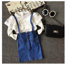 Wholesale 2015 New Autumn Children Clothing Girl Long Sleeve Tops Denim Dress Kids Princess Denim OUtfits Clothes Set K11C63