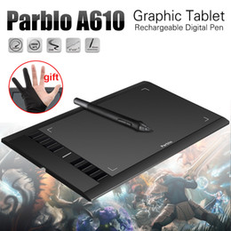Discount good tablets Wholesale-Parblo A610( Ugee M708 ) Graphics Drawing Tablet with Pen 2048 Level Digital Pen Good as Huion H610 Pro + Anti-fouling Glove