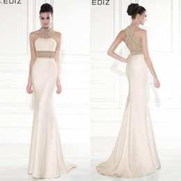 Wholesale Tarik Ediz Mermaid Evening Dresses Halter Formal Gold Champagne Backless Party Prom Gowns Long Celebrity Dress Cheap Sexy Crystals