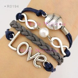 Wholesale Infinity Wish Love Baseball Softball Sports Pendant Ball Pearl Charm Wrap Bracelets Leather Wax Unisex Women Fashion Christmas Custom Design