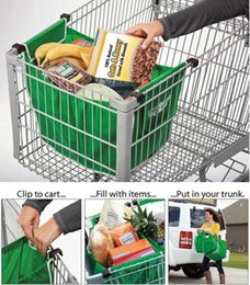 Wholesale 10pcs Grab Bag Washable Eco Friendly Reusable Large capacity Foldable Trolley Supermarket Shopping Bags That Clips To Your Cart