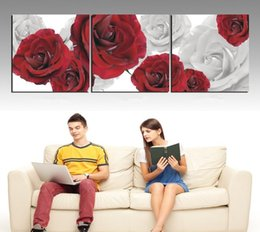 Wholesale 3 Panels Picture Living Room Contemporary Painting blooming rose flower Decorative Canvas Paint Pure hand painted Huge Combinati