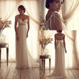 Wholesale 2015 Design Sheer Empire Wedding Dresses with Vintage Crystals Beading Sash Backless Ruched Row Maternity Elegant Bridal Gowns Custom Made