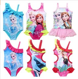 Wholesale 2015 new princess elsa dress swimwear girls bathers blue swimers one piece Swimwear kids Swimsuit Bikini Bathing Suit