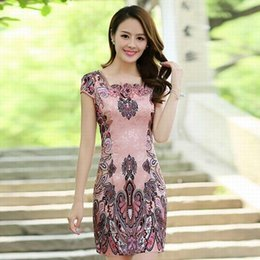 Wholesale Chinese style high grade Print noble chirpaur short sleeve square neck luxury sexy ladies package hip dresses