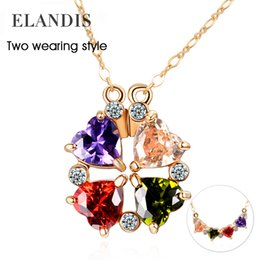 Wholesale Colorful women necklace cubic zirconia statement pendant copper chain necklace new fashion crystal necklace jewelry AN00185