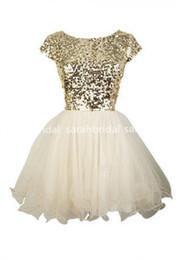 Wholesale 2016 Cheap Under Cute Gold Sequins curto Homecoming Vestidos Evening Cocktail Vestidos Little White Ivory Tulle th Grau Dança Vestidos