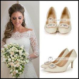 Wholesale Elegant Pearls Crystals Wedding Shoes cm High Heel Bridal Shoes Custom Made Ivory Party Women Shoes For Wedding LSDN