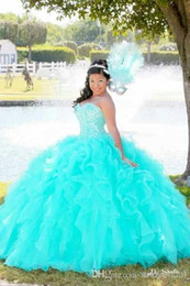 Wholesale Luxury Ruffles Ball Gown Quinceanera Dresses Organza Corset Top Sweetheart Full length Sixteen Girls Dresses