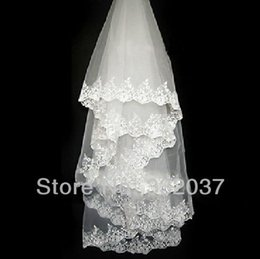 Wholesale Cheap Promotional Lace Applique Bridal Veils Wedding Shawl Veil Ivory White Bridal Accessories