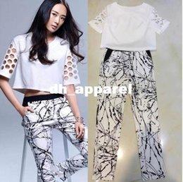 Wholesale Summer Sport suit Women s Clothing Set Casual Clothes Suit Set For Women Hollow Out Half Sleeve Leisure Printed Pencil Pants