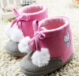 Wholesale 2015 winter Cartoon plush ball waist pink lace baby casual toddler soft bottom thick warm boots baby wear pair cl