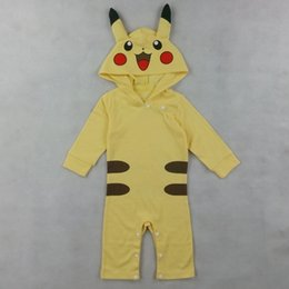 Wholesale Baby Girls Pokemon Go Pikachu Romper Costume Playsuit Jumpsuits With Hood Halloween Cosplay Long Sleeves Spring Autumn