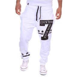 Wholesale Winter Autumn Mens Joggers Sweatpants Fuck You Print Jogging White Black Gray Hip Hop Harem Sport Pants