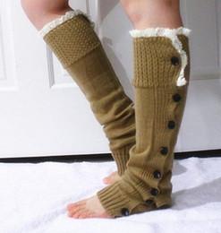 2014 calentadores de la pierna al por menor para las mujeres con botones polainas del ajuste de arranque puños de encaje de arranque Calcetines ganchillo calentadores de la pierna de punto calentadores de la pierna