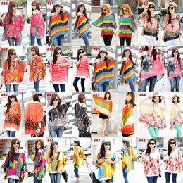 Wholesale 2015 New Fashion Colorful Women Crew Neck Chiffon Batwing Sleeve Oversized Tops T shirts