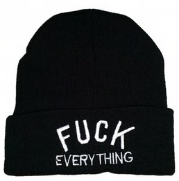Wholesale New fuck everything cotton knit beanie hats for men women sports hip hop caps grey black winter fashion embroidery letters