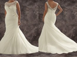 Wholesale Plus size custom made formal bridal gowns bateau cap sleeves applique lace pleated court train backless mermaid wedding prom dresses ML3163