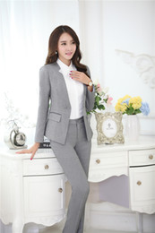 Wholesale Novelty Grey Formal Pantsuits Uniform Design Professional Business Suits Jackets And Pants Ladies Office Trousers Clothing Sets