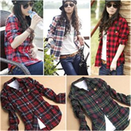 Wholesale Fashionable Women Plaid Shirt Long Sleeve Plaid Blouse Casual Shirt M XXL Colors