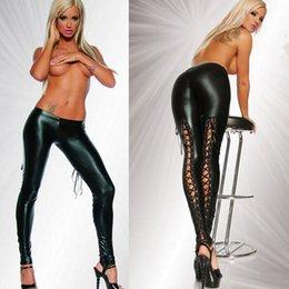 Wholesale Black Bandage Women Pants Sexy Lingerie Plus Size Leggings Punk Rock Shine Faux Leather Women s Clothing