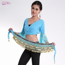Wholesale Super Ring New Belly Dance Waist Chain Colors Rows Coins Stage Wear Indian Dance Hip Skirt Scarf Wrap Belt Costume A0332