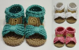Wholesale 22 off Cute bow baby sandals Hand knit wool Mary Jane toddler sandals Summer beach barefoot sandals Yoga Ballet pair