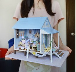 wholesale new large diy wooden doll house miniature happy coast with 3d led light music furniture handmade toys gits girls birthday gift affordable large affordable dollhouse furniture