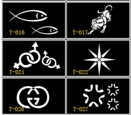 Wholesale 60pcs mixed styles Glitter Tattoo stencil for Body art Painting pattern airbrush Temporary Tatoo Kit supplies