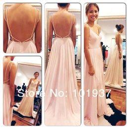 Wholesale Brush Pink Sexy Backless Maxi Dress Spaghetti Straps V Neck Pink Open Back Prom Dress Hot Chiffon Evening Dresses long bo5385