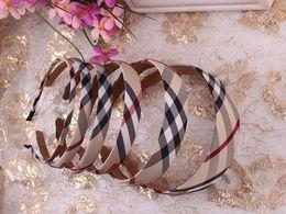 Wholesale Headbands for girls classic plaid check headband eight width options girls korean hair accessories hairband headdress headwear hoop