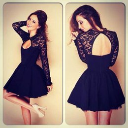 Wholesale 2014 Dark Navy Short Lace8th Graduation Dresses A Line High Neck Long Sleeve Backless Mini Prom Dress Chiffon Homecoming Gowns