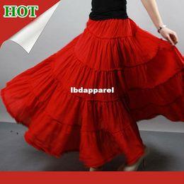 Wholesale Livraison gratuite niveaux coutures Gypsy Bohemia BOHO cercle complet danse en coton rouge espagnol plissées jupes Maxi longue avec les femmes