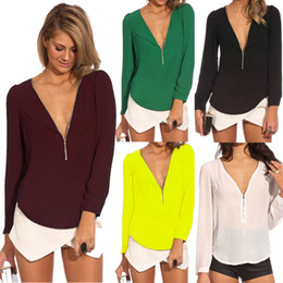 Wholesale 2014 Autumn Sexy Women s Zipper V neck Chiffon Shirt Tops Long Sleeve Fashion Casual Blouse T shirts Low Price Sample