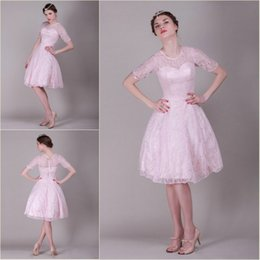Wholesale Party Dress Knee length Pink Lace Scoop Short Sleeve Ball Gown Zipper Prom Evening Homecoming Dress Elegant Latest Dress Designs Newest
