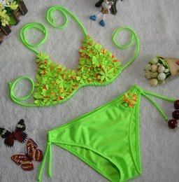 Wholesale girls baby swimwear two piece girls swimsuit summer sexy beautiful swim suit children pearl flowers childrens girl bikini