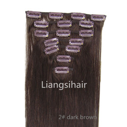 "22"" 24"" 26""80g 100g 120g 2# dark brown Clip in Hair Extensions Brazilian virgin Human Hair Extensions 7pcs One Lot in Factory Price ST012"