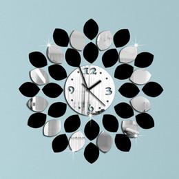 36pcs Big Leaf Black And Silver Wall Clock Modern Design Luxury Mirror Wall  Clock,3d Crystal Mirror Wall Clocks,free Shipping!